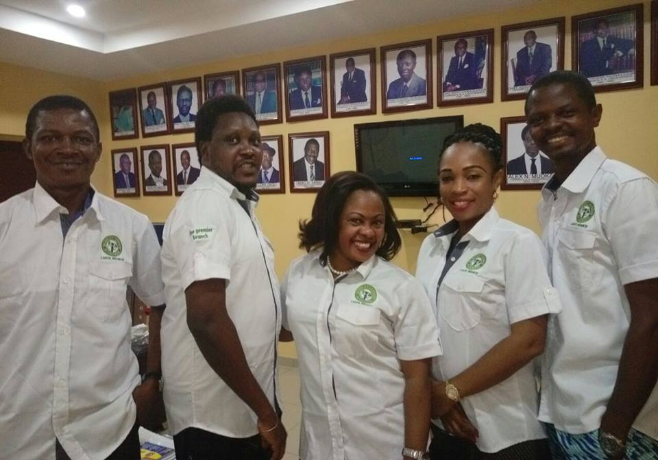 Members of theNBA Lagos exco wearing the branded shirts