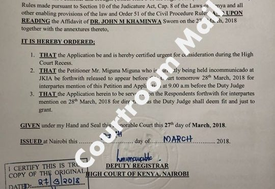 Just In: Kenya's High Court orders the release of Miguna from the Airport