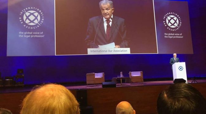 Romano Prodi former Italy PM  delivers keynote address at the IBA Conference