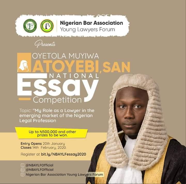 Nigerian Bar Association Young Lawyers' Forum (NBA-YLF) Announces National Essay Competition in Honour of Mr. Oyetola Muyiwa Atoyebi, SAN