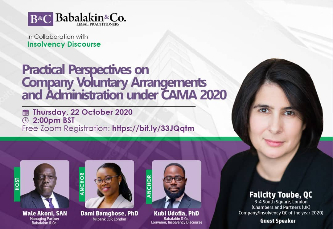 Babalakin & Co to host event on Practical Perspectives in Company Voluntary Arrangement and Administration under CAMA