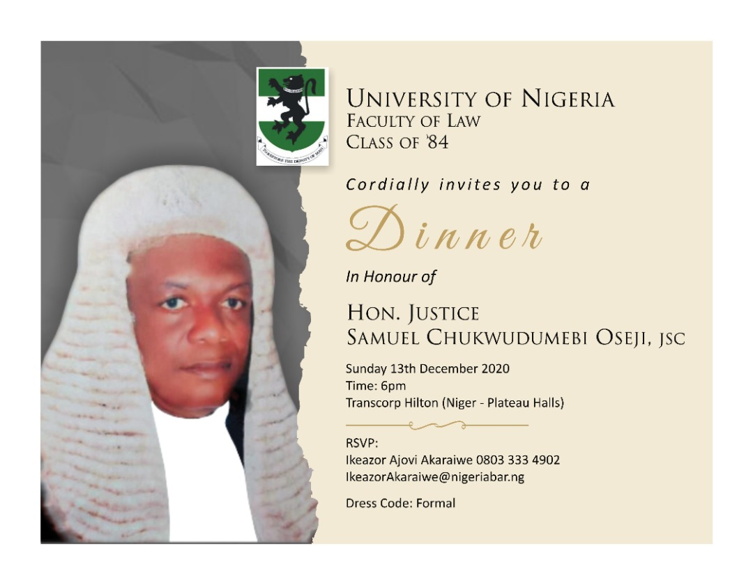 UNN Faculty of Law Class of 1984 to hold dinner in honour of S.C Oseji, JSC